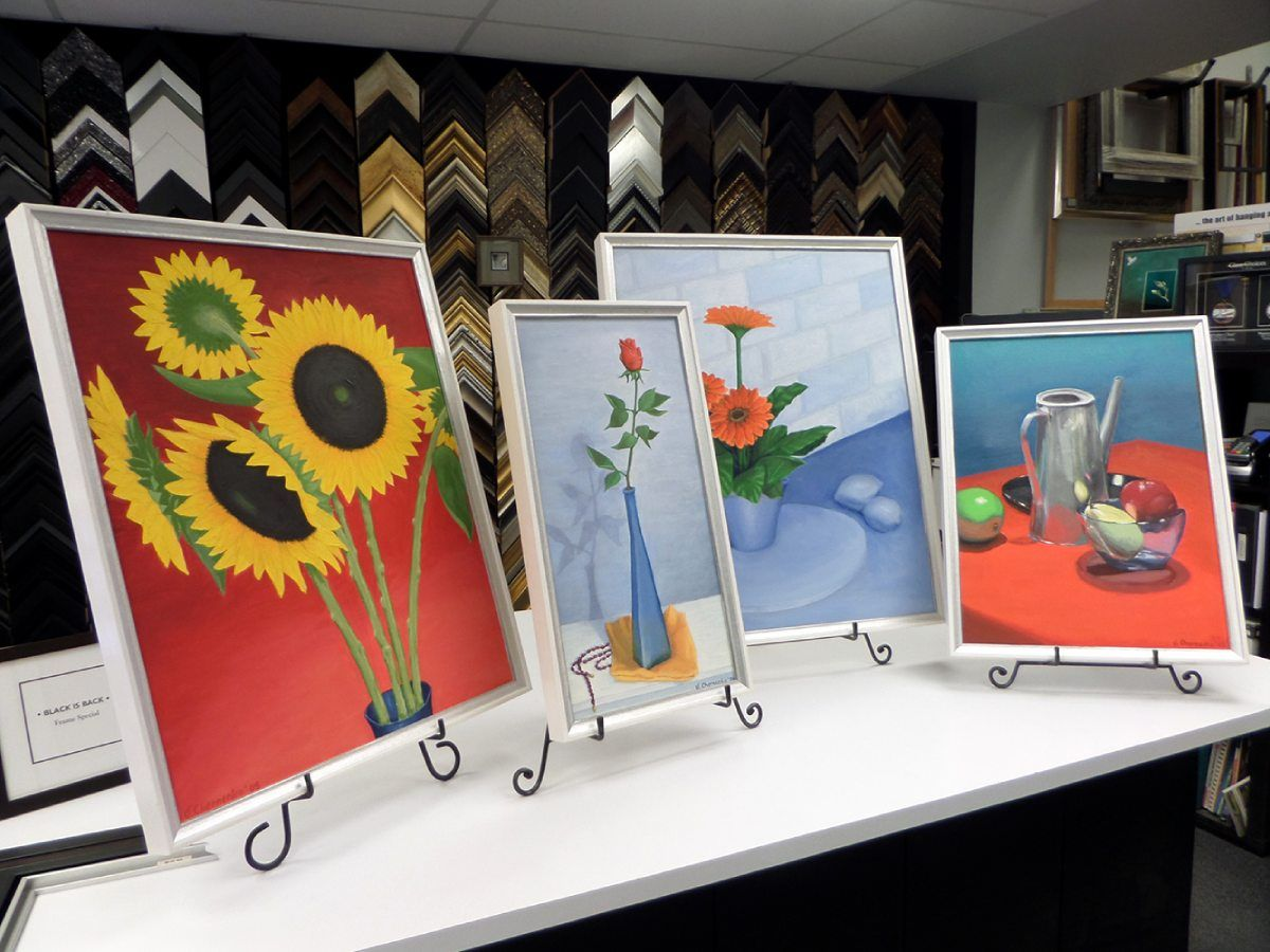 various framed photos on display